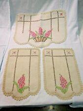 Antique 3 Piece Embroidered Armchair Linen ~ Textile ~ Antimacassar #1938