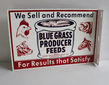 Blue Grass PRODUCER FEEDS Farm Flange Sign  Bull Chicken Pig Horse  modern retro