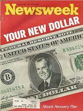 AUGUST 30, 1971 NEWSWEEK MAGAZINE RICHARD NIXON DOLLAR ECONOMICS ECONOMY MONEY