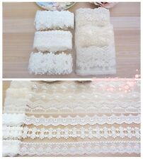 LOT~12Y Vintage Style Assorted Embroidered Tulle Lace Trim~Ivory/Beige~Group 14~