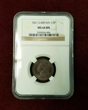 1821 Dot after Date Great Britain 1/4 Penny Farthing MS64 BN NGC