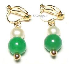 Genuine White Pearl & Dark Green Jade 18K YGP Clip on Earrings