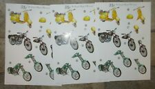 3 x 3D No Scissors Required Pre-Cut Scooter Motorbike Design Decoupage A4 Sheets