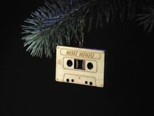 """Wooden Cassette Tape Christmas tree ornament """"merry mixmas!"""" vintage gift music"""