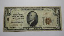 $10 1929 Lynchburg Virginia VA National Currency Bank Note Bill Ch. #1522 FINE