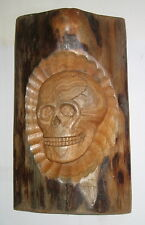 Totenkopf Relief Wandbild aus Holz, geschnitzt, Handarbeit, Unikat, 25x13x3