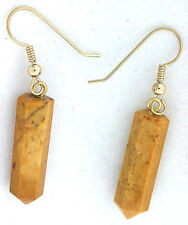 14Kt Yellow Gold Earwire Natural Golden Jadeite Crystal Point Gemstone Earrings