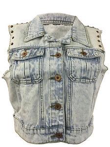 Womens Ladies Biker Crop Jacket Sleeveless Denim Studded Jackets Waistcoat 8-14