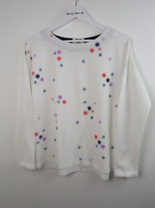 WHITE STUFF White Pretty Embroidered Soft Feel Long Sleeved Sweater Jumper UK S
