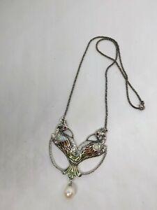 Nouveau insp Sterling silver Peacock Enamel Pendant Plique a Jour Opalite ruby
