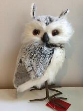 Snowy White Grey Standing Owl Winter/Christmas Decoration Prop
