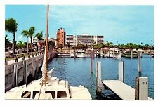Sarasota Florida Postcard Marina City Pier Vintage Boats Water Palm Trees