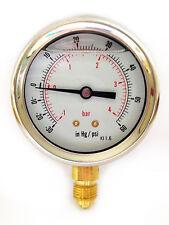 Compound Pressure Vacuum Gauge Glycerine Filled 63mm -1/+4 Bar &-30*Hg/+60 PSI