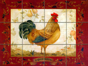 24 x 18 Art Red Border Mural Ceramic Bath Backsplash Rooster Tile #322