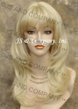 Choppy Layered Straight Pale Blonde Full bangs Wig NEW swt 613