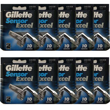 100 Gillette Sensor Excel Refills Razor Blade Cartridges (10 Packs of 10)