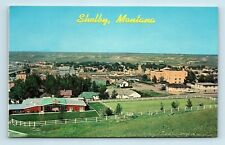 Shelby, MT - DOWNTOWN AIRVIEW PANORAMA - GATEWAY TO ALASKA - VTG POSTCARD - K2