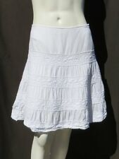 INC Petite White Soft Gauzy 100% Cotton Lace Tiered A Line Summer Skirt S 6 6P