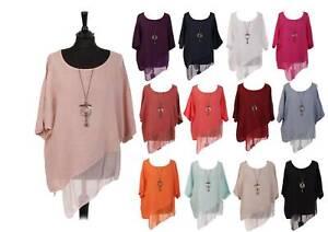 Women Italian Lagenlook Linen Asymmetric Chiffon Hem Necklace Top Tunic