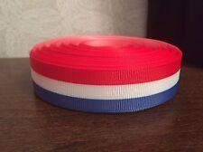 1m Red White Blue Tricolour Stripe Great Britain GB France USA Grosgrain Ribbon