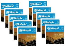 LOT OF 10 - D'Addario 80/20 Bronze Acoustic Guitar Strings, Light, 12-53,  EJ11