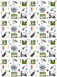 Golf Theme Personalised Birthday Gift Wrapping Paper 3 Designs ADD NAME