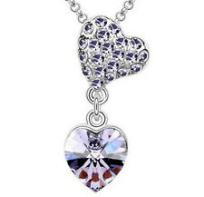 New Fashion Girls Necklace Purple Crystal Heart Cz Cubic Zirconia Pendant Gift