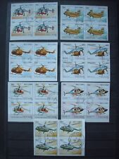 VIETNAM 1988 IMPERFORATED BLOCS OF 4 / USED / HELICOPTERS PLANES hélicoptère