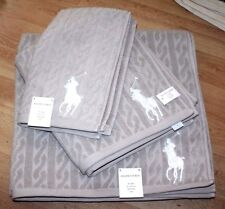 RALPH LAUREN POLO HOME CABLE  TOWEL SET X 3 PIECES HAND BATH AND SHEET RRP £119