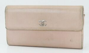 Authentic CHANEL light Pink Leather CC Long Wallet Coin Purse #40525