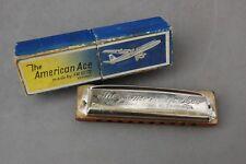American Ace Harmonica Fr. Holtz Germany Key G Vintage Nice Box Airplane Music