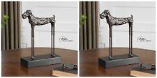 """PAIR 13"""" CAST IRON LONG LEG DOG MODERN ART STATUE SCULPTURE AGED FINISH"""