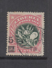 Liberia # 138 USED LIVERPOOL SHIP MAIL FULL DATE 1915-16 Surcharge Pepper Plant
