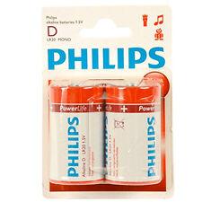 Philips Confezione 2 Batterie Alcaline Alkaline LR20 D Torcia 1,5V Mono
