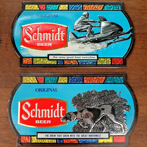 1970 Schmidt Beer 15 Inch Tavern Signs Lot of 2 Minnesota Snowmobile Hunting Dog