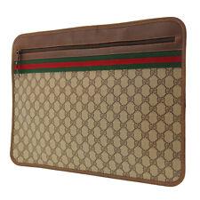 GUCCI GG Plus Web Stripe Briefcase Brown PVC Leather Vintage Authentic #FF943 S
