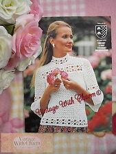 Vintage Crochet Pattern Lady's 'Victorian'  Style Blouse, 32-38 Bust Free P&P