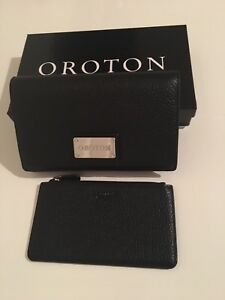 Oroton Wallet And Pouch Black Leather