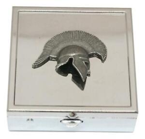 Greek Helmet KR Square Pill Trinket Box Chrome with Mirror Gift 158