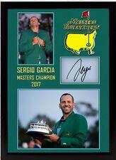 Neuf Sergio Garcia signé dédicacé US Masters 2017 Golf Memorabilia feamed 003