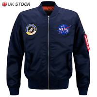 UK MENS EMBROIDERED NASA JACKET NEW MILITARY ARMY FLIGHT BOMBER JACKET