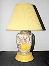 "LAMP A VINTAGE 16""H GLASS GINGER JAR FILLED WITH COLORED SEASHELL LAMP w/SHADE"