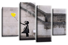Banksy Wall Art Grey White Yellow Girl Balloon Canvas Abstract Split 44 X 27""