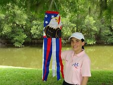 "Bald Eagle Patriotic Flag 100% Polyester Wind Sock W/Grommets 40"" Embroidered"