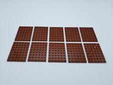 LEGO LOT 10 X PLATE  6X8 REDDISH BROWN  REF 3036 / 4223729 *NEUF*