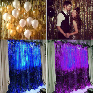 Metallic Tinsel Curtain Foil Wedding Birthday Party Decorations Photo Backdrop