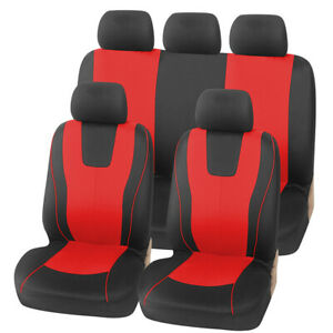 9pcs Red/Black Car Seat Covers Breathable Washable Fit for Most 5-Seat Cars
