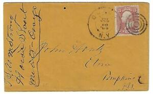 US 1864 CIVIL WAR PERIOD COVER ONEONTA NY TO TOMPKINS CO DUPLEX TARGET CANCEL