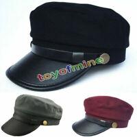 NEW Men Women Army Leather Cap Cadet Military Navy Sailor Flat Top Cotton Hat