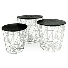 Beistelltisch Tisch mit Stauraum Couchtisch Korb Metall Holz silber grau schwarz
